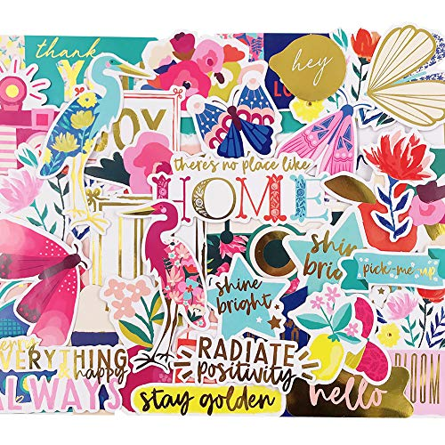 (Scrapbook Stickers,44pcs Laptop Stickers Spring Stickers Floral Stickers Decorative Masking Stickers for Personalize Laptop Scrapbook Daily Planner and Crafts)