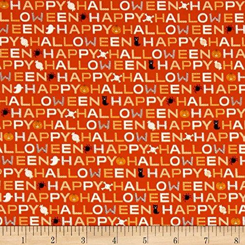 Riley Blake Designs Cats Bats Jacks Words Orange