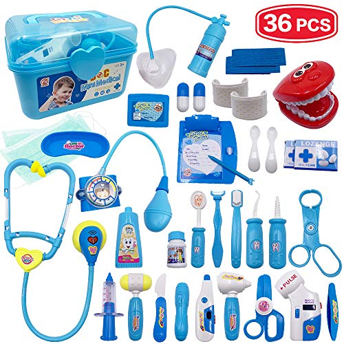 Scientoy Doctor Kit for Kids, 113 PCS Medical Kit Toys, Dentist Pretend Play Set for 3.4.5 Kids& Toddlers& Boys& Girls, Educational Toys with Electronic Stethoscope& Portable Case