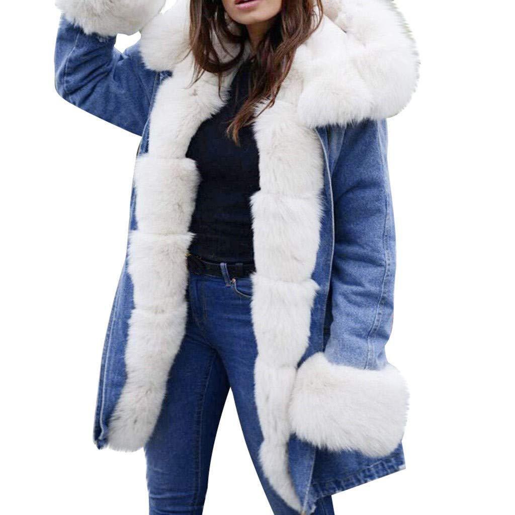 perfectCOCO Women's Hooded Coats Plush Hoodies Warm Winter Jacket Faux Fur Lined Long Outwear Overcoat White by perfectCOCO