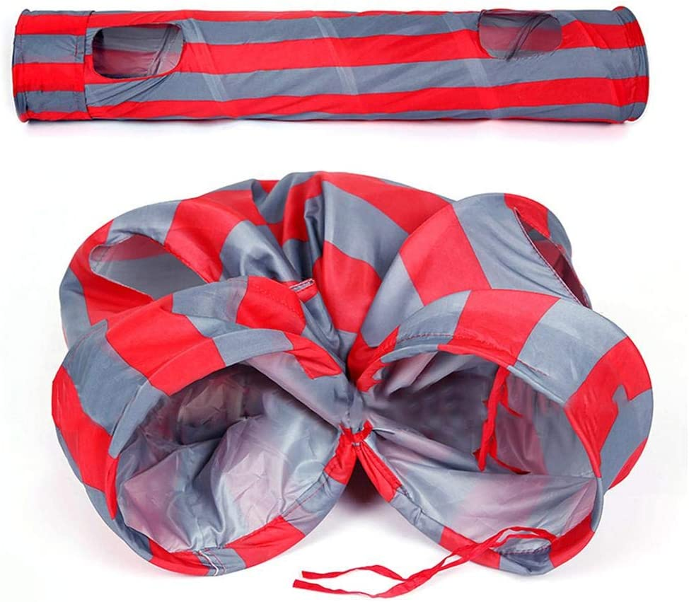 Red Strips 25130cm Ridecle Large Collapsible Cat Tunnel Tube Toy for Indoor /& Outdoor Kitten Rabbits Small Dogs Play Toys with 2 Holes