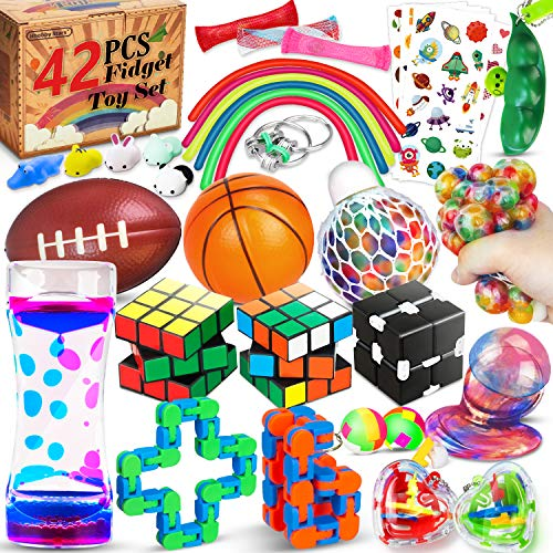 hhobby stars 42 Pcs Sensory Fidget Toys Pack, Stress Relief & Anxiety Relief Tools Bundle Figetget Toys Set for Kids…