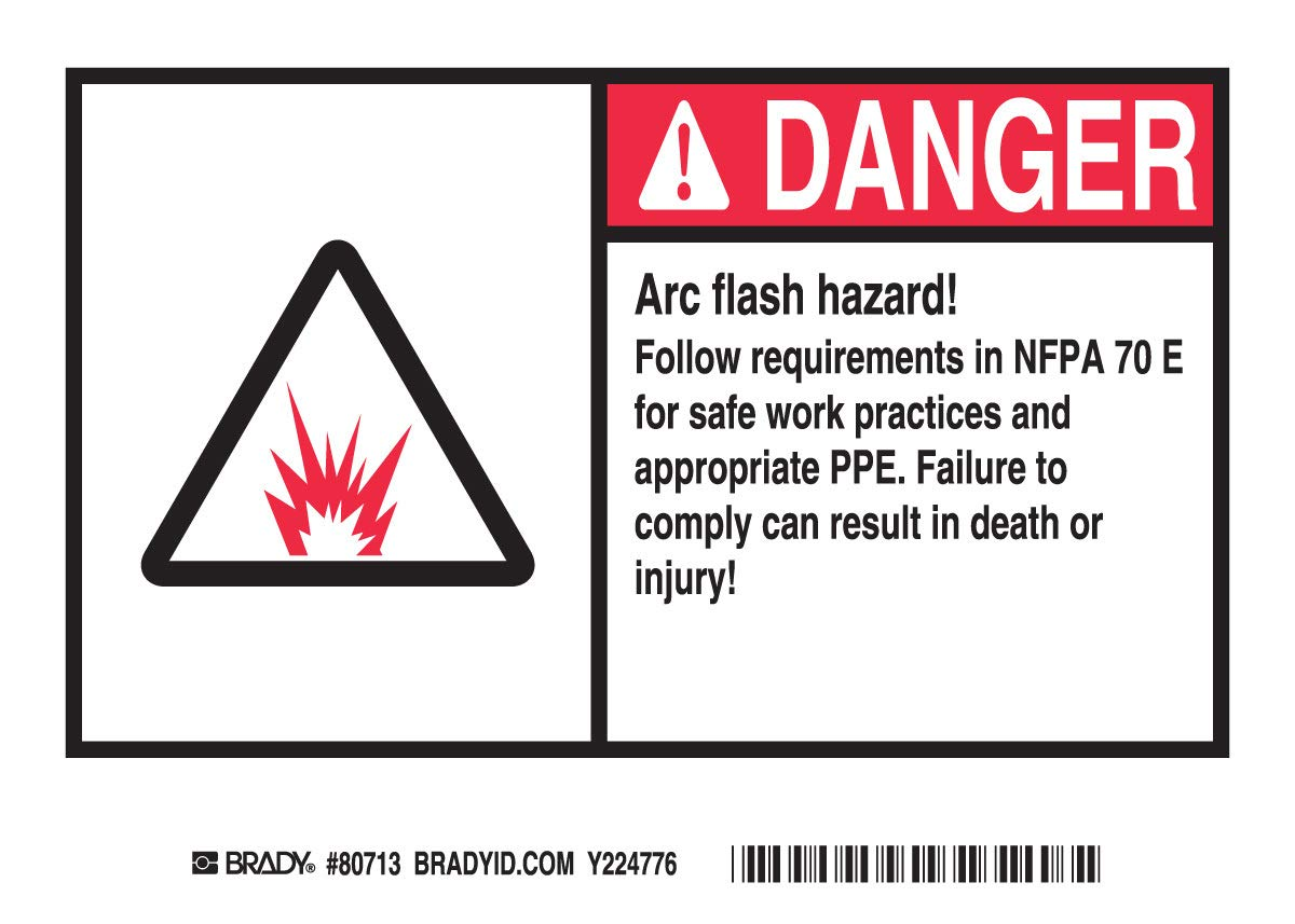 Brady 5'' X 7'' Black/Red/White Polyester Label''ARC FLASH HAZARD! FOLLOW REQUIREMENTS IN NFPA 70E FOR SAFE WORK PRACTICES AND APPROPRIATE PPE. FAILURE TO COMPLY CAN RESULT IN DEATH OR INJURY!''