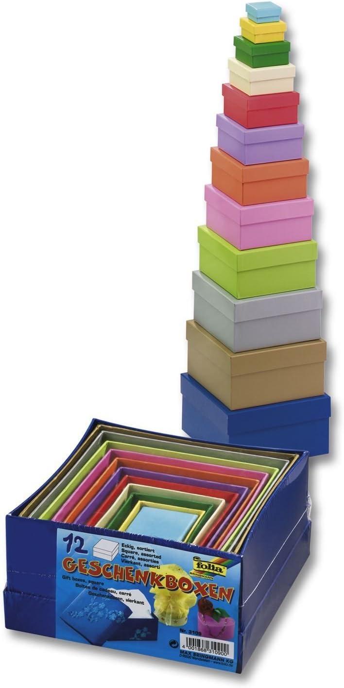 Folia - Plaza de cajas de cartón para regalo, color, 12 piezas de diferentes tamaños y colores , color/modelo surtido