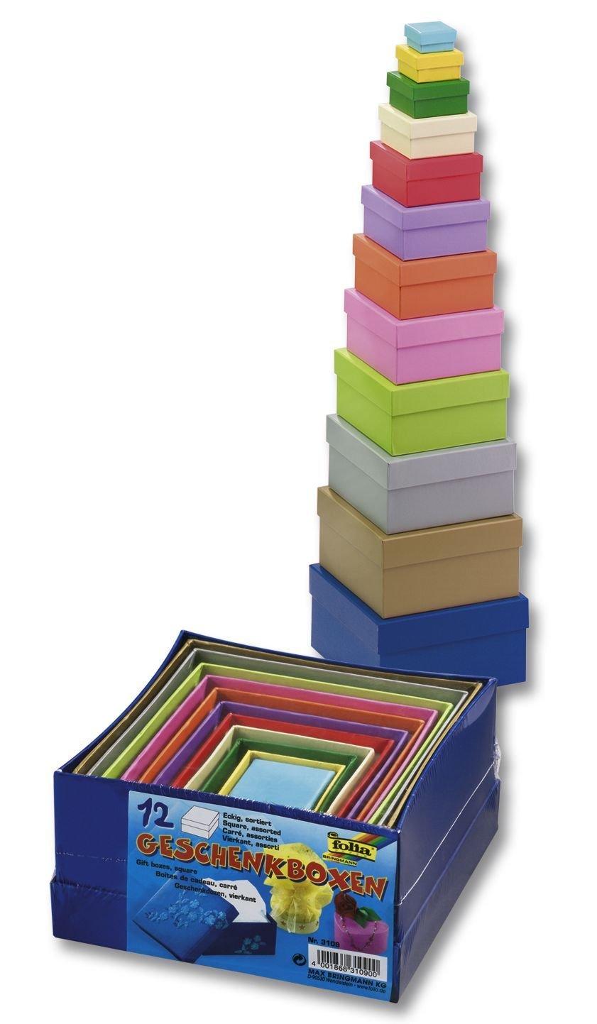 Glorex GmbH 6 2027 102 Geschenkboxen, Qualität eckig, Pappe, 14 x 14 x 7,5 cm, mehrfarbig Qualität eckig Folia 3109