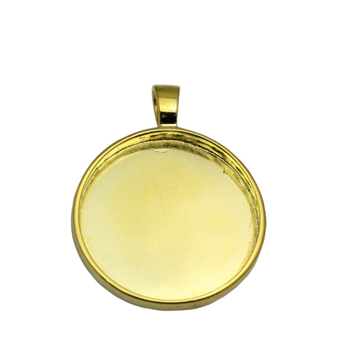 Round Bezel Pendant Setting Sterling Silver Cabochon Base 25 mm Round Bezel Tray DIY Jewelry 14kt Gold Plated