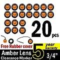 "( Pack of 20 ) TMH 3/4"" Inch Mount Amber LED Clearance Bullet Marker lights, Side LED marker lights for trailer Truck RV Car Bus Van"