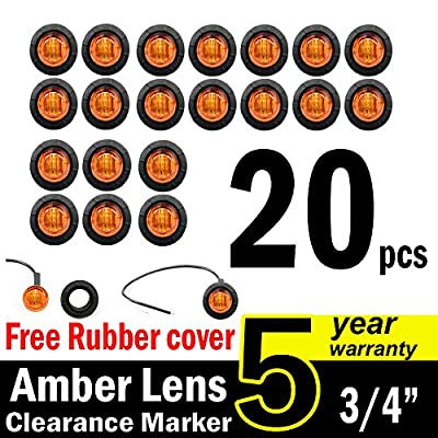 "( Pack of 20 ) TMH 3/4"" Inch Mount Amber LED Clearance Bullet Marker lights, Side LED marker lights for trailer Truck RV Car Bus Van"