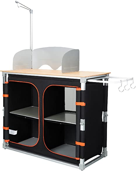 KingCamp Mesa de Cocina de Bambú Plegable, Multifuncional con Marco de Aluminio y Diferentes Compartimentos, para Camping, Picnic, Barbacoa, Color ...