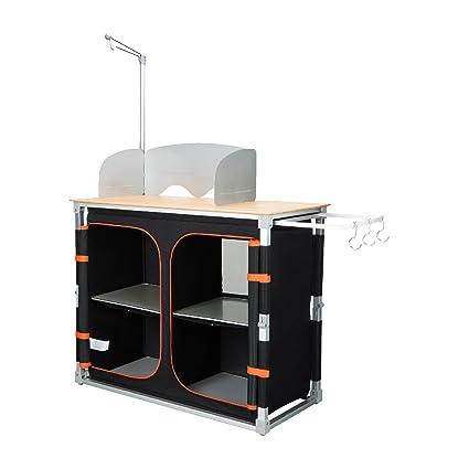 KingCamp Mesa de Cocina de Bambú Plegable, Multifuncional con Marco de Aluminio y Diferentes Compartimentos