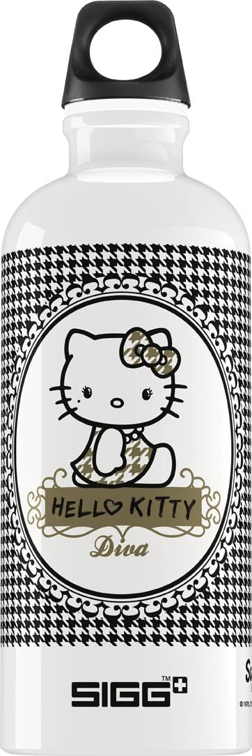 Sigg Hello Kitty Pepita Diva Water Bottle 0.6-Liter White//Black
