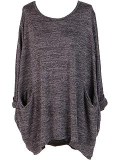 9cf9b23a3e3 New Ladies Italian Front Pocket Lagenlook Top Women Winter Tunic Top Plus  Sizes
