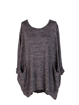 9eb00345f02 New Ladies Italian Front Pocket Lagenlook Top Women Winter Tunic Top Plus  Sizes (Dark Grey): Amazon.co.uk: Clothing