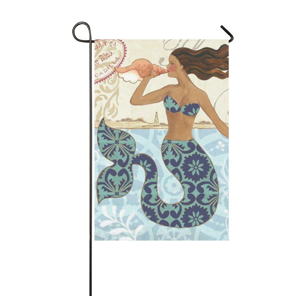 haiqingcjhov Yard Outdoor Home Decor - Mermaid Blew Conch - Romantic Fairy Tales Decorative Garden Flag,12 x 18 inches