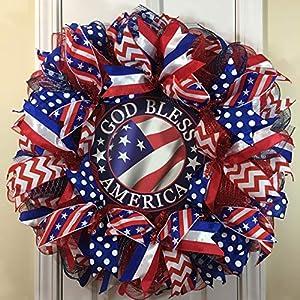 "Patriotic Wreath for front door with deco mesh & ribbon, 26"" 21"