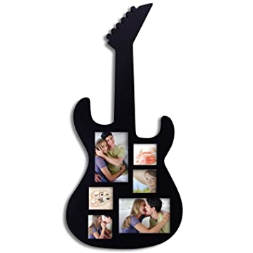 adeco pf0349 black wood guitar collage picture photo frame 6 openings 3x3