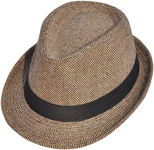 Simplicity Unisex Structured Gangster Trilby Wool Fedora Hat, 3502_Brown/Tan,One Size -
