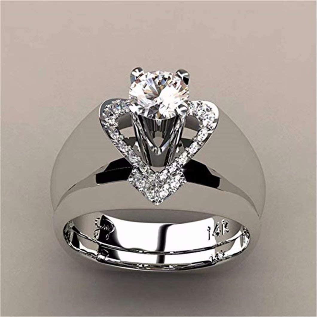 LEANER Vintage Style 2-in-1 Wedding Engagement Bridal Set Ring Band Heart Shaped CZ Ring Set