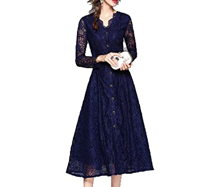 Trendy-Nicer Vintage Vestidos Flower Lace Dress Autumn Winter Long Sleeve Work Casual Maxi Dresses