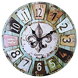 LuLu Decor, Old time French Country Style Rustic Round Wood Wall Clock 23, Large Roman Numerals (Old Time)