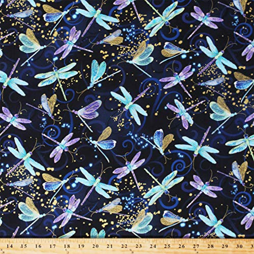 Cotton Dancing Dragonflies Dragonfly Insects Bugs Swirls Gold Metallic Shimmer Navy Blue Cotton Fabric Print by The Yard (D366.35)