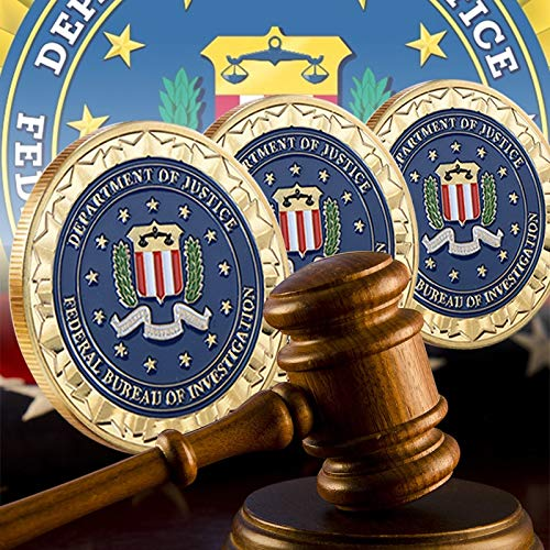 Vincent-Prestiges - Novelty Colorful Pure Gold Plated Coin of U.S. Department Of Justice American FBI Metal Challenge Coin For Gift (Plated Gold Justice)