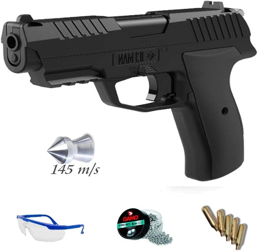 PACK pistola de aire comprimido Crosman Iceman - Arma de CO2 y balines (perdigones plomo) <3,5J