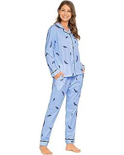 Misscoo Pijama de algodón para Mujer, Pijama con Botones de Manga Larga, Pijama de Franela (Cinco Tallas): Amazon.es: Ropa y accesorios