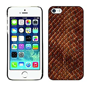 Design for Girls Plastic Cover Case FOR iPhone 5 / 5S Snake Skin Pattern Brown Scales Reptile Art OBBA