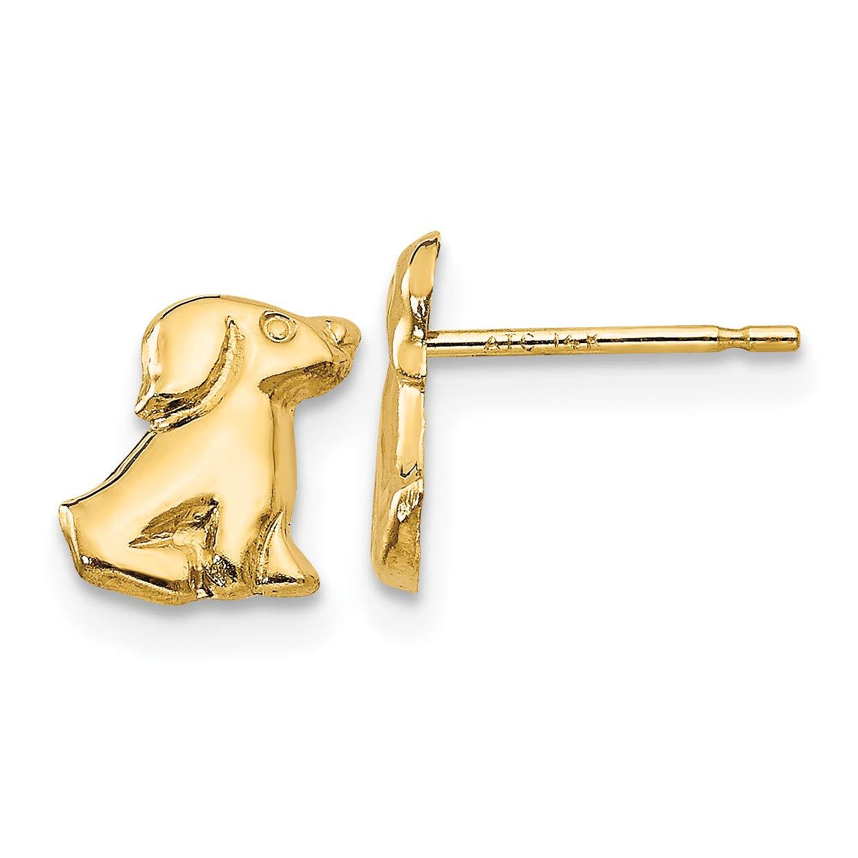 14K Yellow Gold Madi K Childrens 5 MM Dog Post Stud Earrings