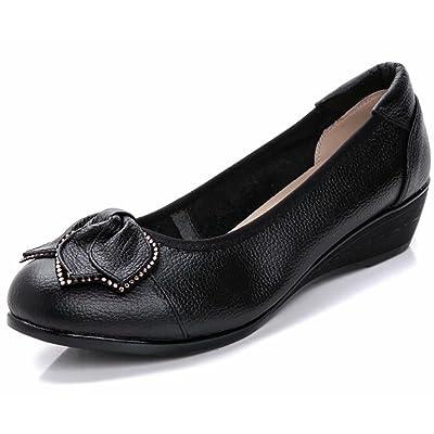 Women's Genuine Leather Comfort Low-Heeled Wedge Pump | Pumps