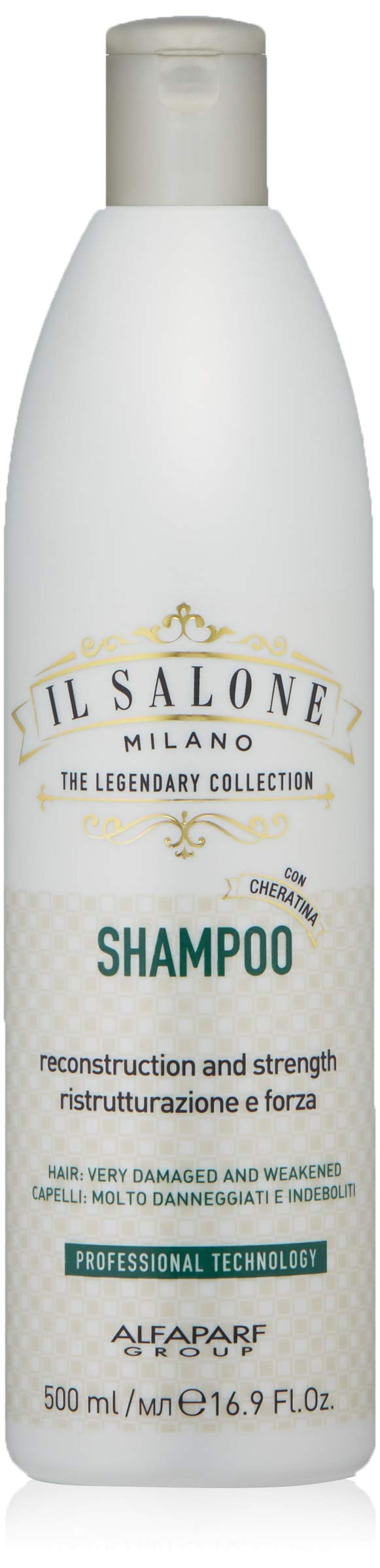 Il Salone Milano Professional Keratin Shampoo for Very Damaged Hair - Reconstruction, Strengthen and Repair - Premium Quality - 16.91 Fl. Oz / 500ml