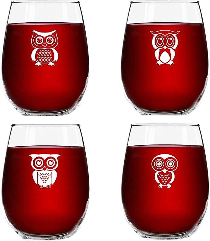 Owl with name 15 oz stemless wine glass