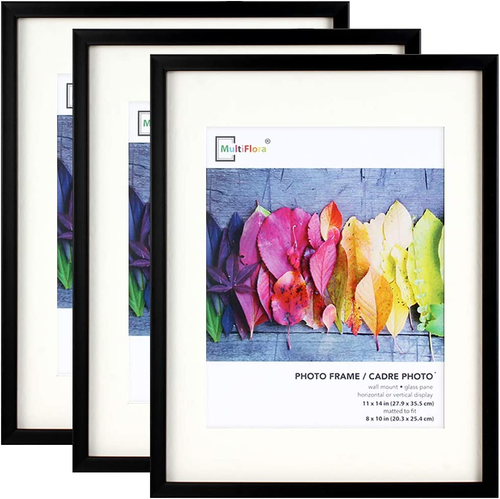 Picture Frames 11x14 Black, with 8x10 Mat, 3 Pack