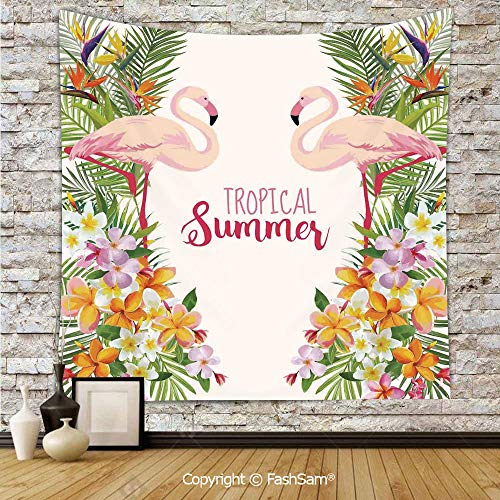 FashSam Tapestry Wall Blanket Wall Decor Cute Royal Flamingo Birds with Tropical Flowers and Branch Romantic Warm Summer Retro Print Home Decorations for Bedroom(W39xL59)