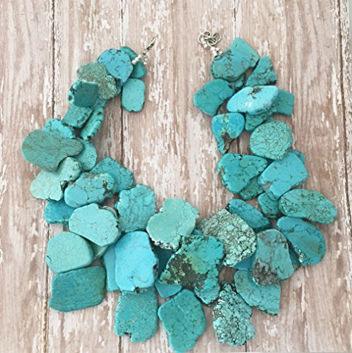 Layered Double Strand Turquoise Chunky Statement Necklace