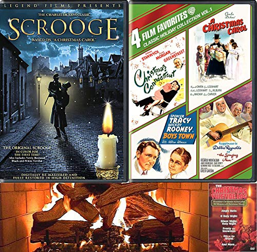 Fire Holiday Christmas Connecticut Carol Boys Nun 5 Movie DVD Pack Charles Dickens Carol Scrooge / Boys Town / Hapiness is Debbie Reynolds Singing / Spencer Tracy Boys Town / Yuletide log Fireplace