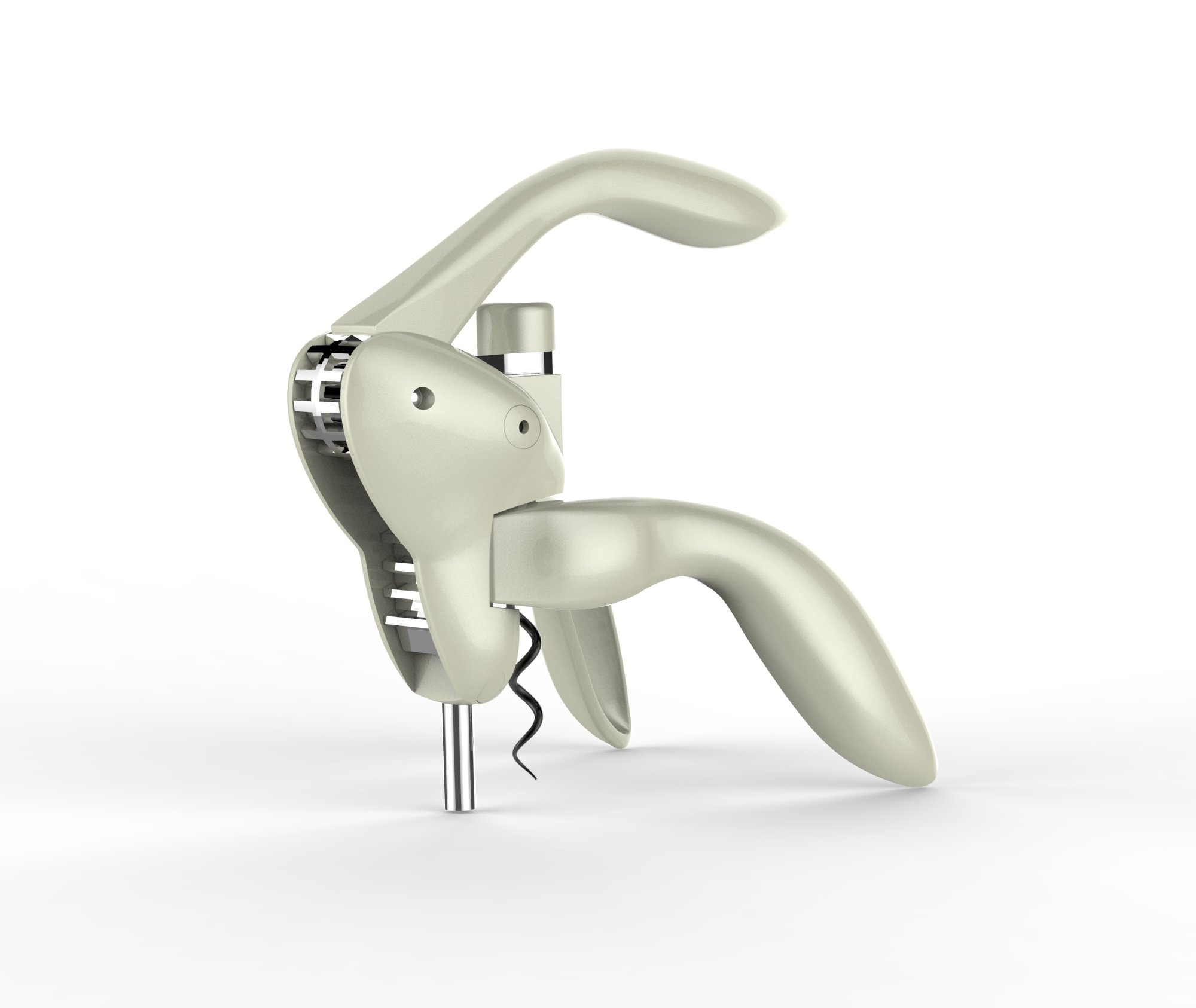 Houdini Lever Corkscrew with Foil Cutter and Extra Spiral (Silver) by Metrokane