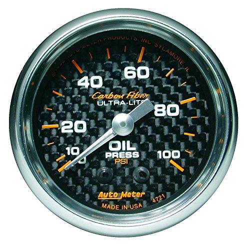 Auto Meter 4721 Carbon Fiber Mechanical Oil Pressure (Carbon Fiber Auto Oil Pressure Gauge)