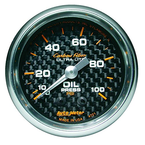 Auto Meter 4721 Carbon Fiber Mechanical Oil Pressure Gauge