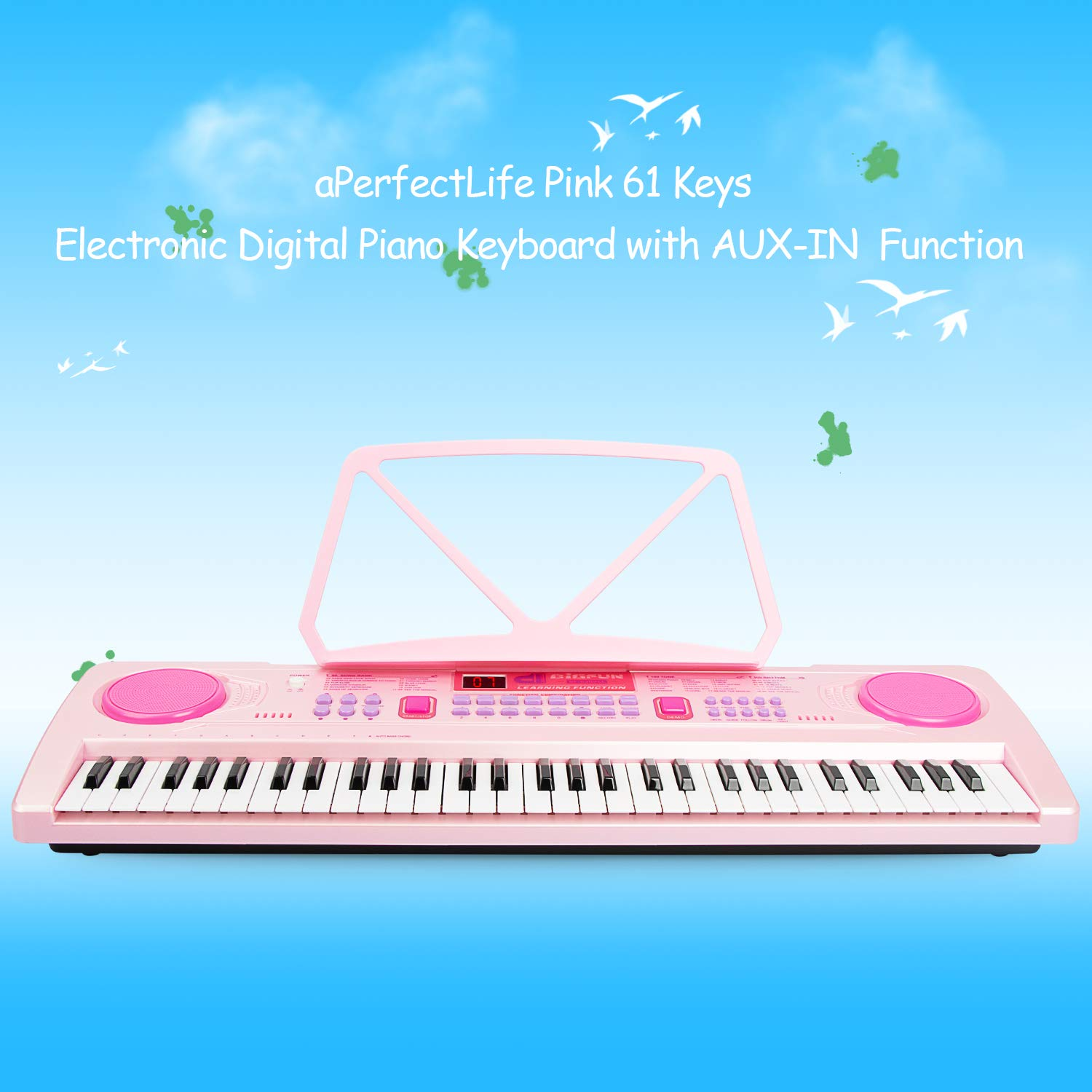 aPerfectLife 25'' Charging Piano Keyboard for Kids 61 Keys Multifunction Portable Piano Electronic Keyboard Music Instrument for Kids Early Learning Educational Toy (Pink) by aPerfectLife (Image #4)