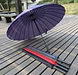 Purple Sun Rain Umbrella Oversized Parasol Long Handle Straight-Bar