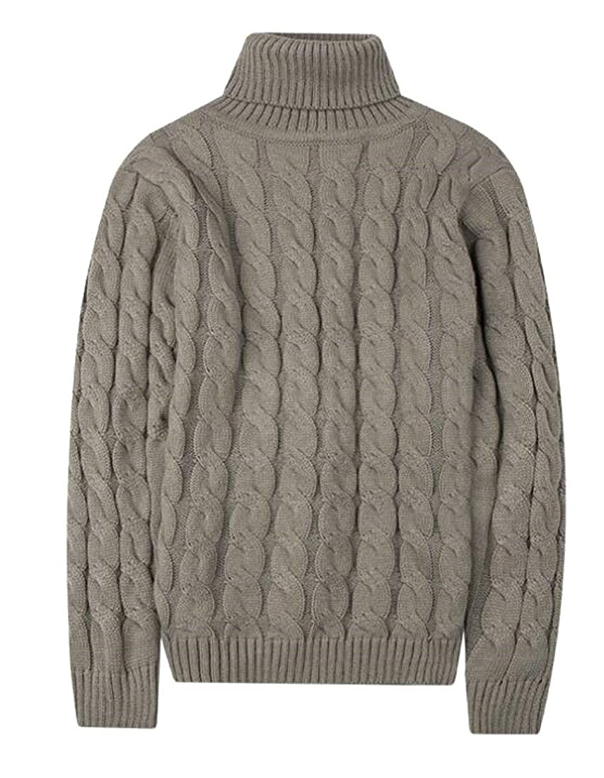 Generic Mens Casual Twisted Knitted Turtleneck Slim Fit Pullover Thermal Sweater
