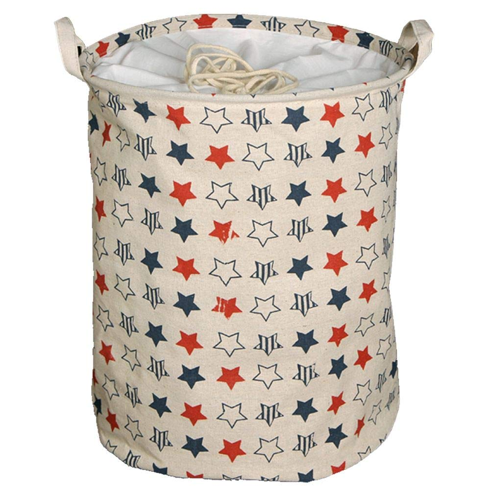 Large Round - 17.7x13.7 - Ivory Leaf Collapsible /& Convenient Organization /& Storage Solution for Your Home -Clothes and Toys Organizer EZVING Foldable Hamper or Laundry Basket