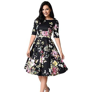 New Summer Women Vintage Floral Half Sleeve Swing Dress Fashion Boho Print Vestidos