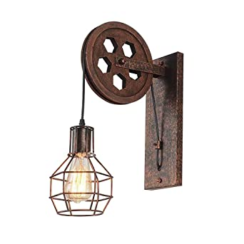Industria retro Aplique de pared Luz de jaula de hierro vintage ...