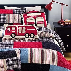 Cozy Line Plaid Cotton Kids Quilt Bedding Set for Boys, Fire Truck Theme, Full/Queen -250gsm, (includes 1 Quilt, 2 Shams)