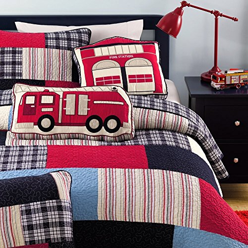 Cozy Line Plaid Cotton Kids Quilt Bedding Set for Boys, Fire Truck Theme, Full/Queen -250gsm, (includes 1 Quilt, 2 Shams) - Full Queen Quilt Bedding
