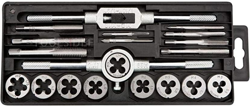 Cocoarm Tap and Die Set Thread Gauge Heavy Duty Hand Tools Kit M3 M4 M5 M6 M7 M8 M10 M12 Screw Nut Tap and Die Set with Wrenches 40Pcs