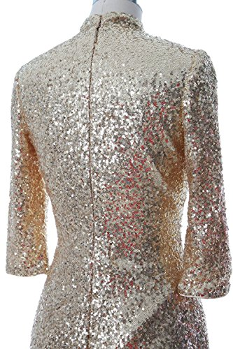 MACloth Women Sequin Tea Length Mother of Bride Dress Formal Evening Party Gown Rojo